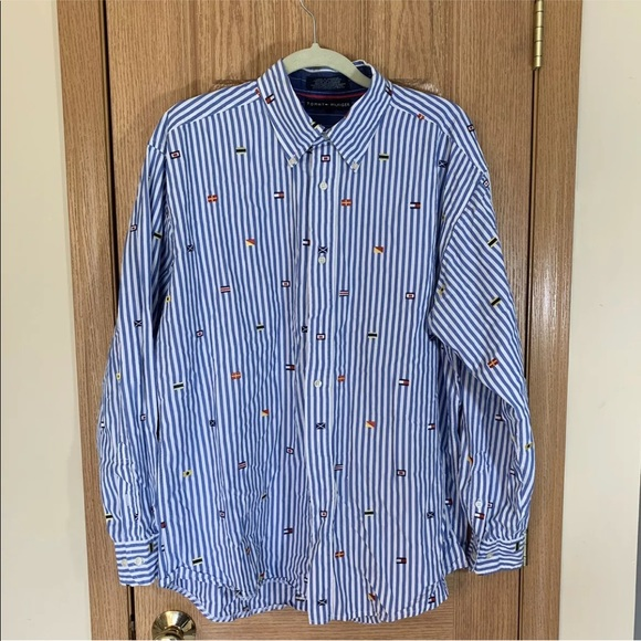 Tommy Hilfiger Flags All Over Button Up Shirt Rare
